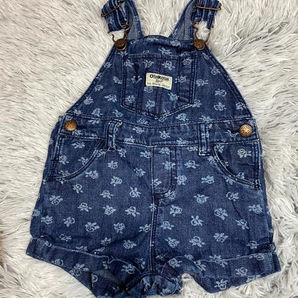 OshKosh Jean Bib Floral Shorts 18months
